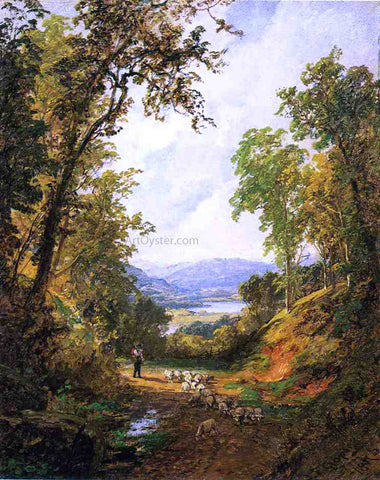 Jasper Francis Cropsey Shepherd and Flock - Hand Painted Oil Painting