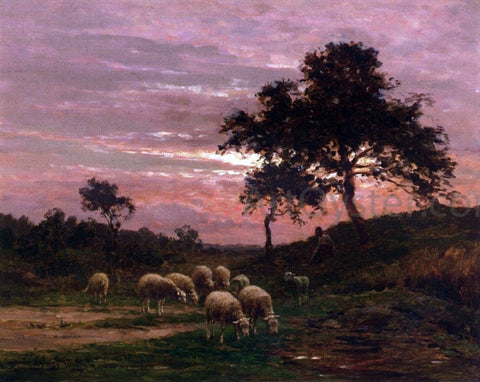 Jean Ferdinand Chaigneau Shepherd and his Flock at Sunset - Hand Painted Oil Painting