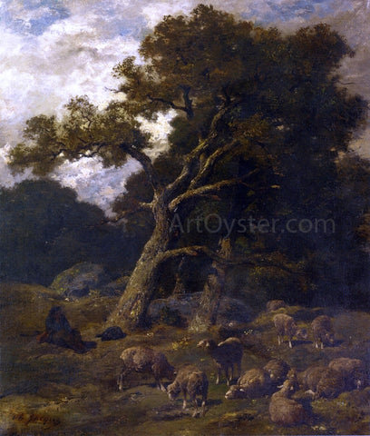 Charles Emile Jacque Shepherd and his Sheep in Fontaineblelau Forest - Hand Painted Oil Painting