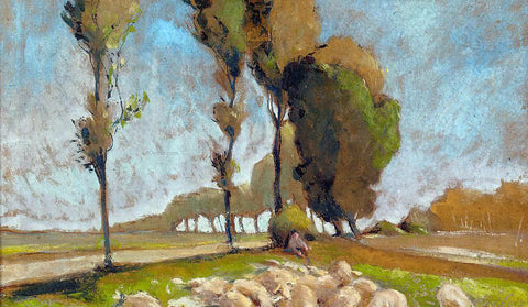Henri Edmond Cross Shepherd and Sheep - Hand Painted Oil Painting