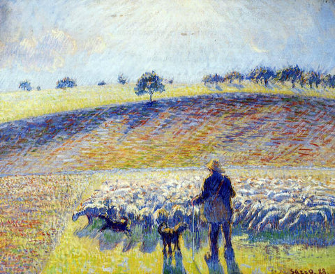 Camille Pissarro Shepherd and Sheep - Hand Painted Oil Painting