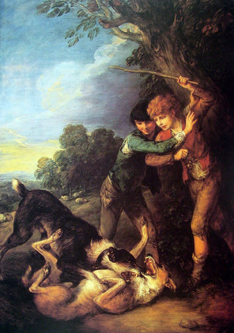Thomas Gainsborough Shepherd Boys with Dogs Fighting - Hand Painted Oil Painting