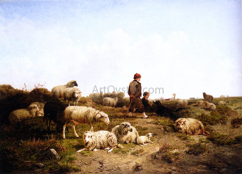 Cornelis Van Leemputten Shepherd Boys With Their Flock - Hand Painted Oil Painting