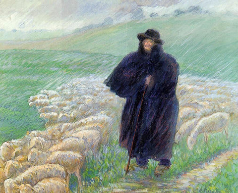 Camille Pissarro Shepherd in a Downpour - Hand Painted Oil Painting