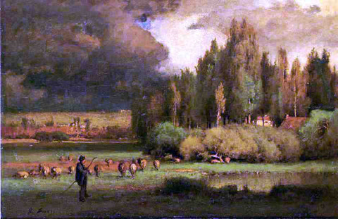 George Inness Shepherd in a Landscape - Hand Painted Oil Painting