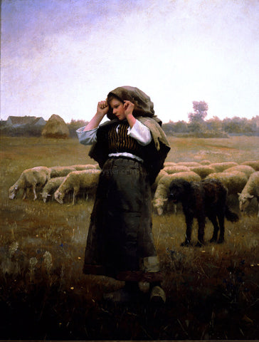 Daniel Ridgway Knight Shepherdess and her Flock - Hand Painted Oil Painting