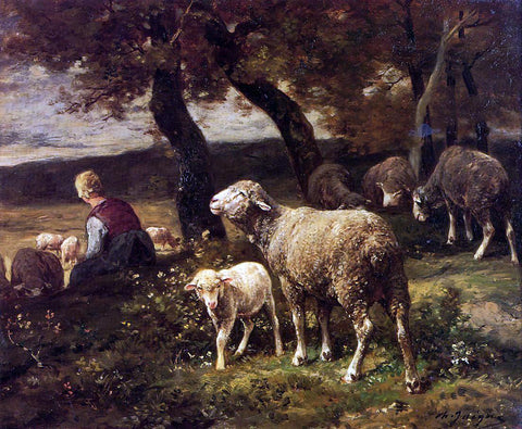 Charles Emile Jacque Shepherdess and Sheep - Hand Painted Oil Painting