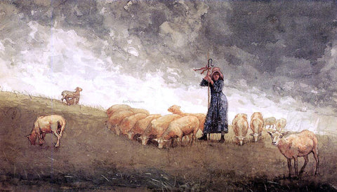 Winslow Homer Shepherdess Tending Sheep - Hand Painted Oil Painting