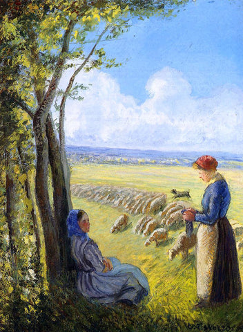 Camille Pissarro Shepherdesses - Hand Painted Oil Painting