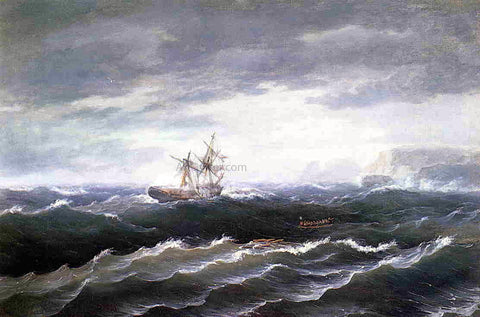 Thomas Birch Ship at Sea (also known as Shipwreck) - Hand Painted Oil Painting