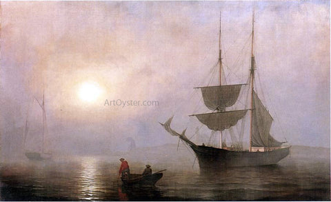 Fitz Hugh Lane A Ship in a Fog, Gloucester Harbor - Hand Painted Oil Painting