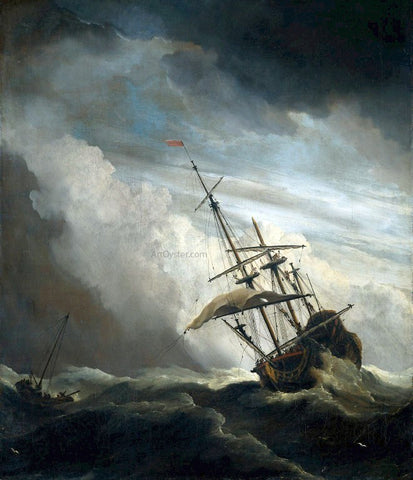 The Younger Willem Van de Velde Ship in High Seas Caught by a Squall - Hand Painted Oil Painting
