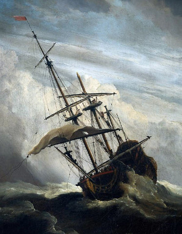 The Younger Willem Van de Velde Ship in High Seas Caught by a Squall [detail #1] - Hand Painted Oil Painting