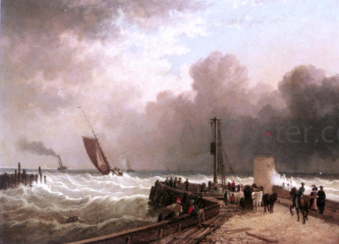 John Jock Wilson Shipping Approaching The Harbour Mouth In A Rough Sea - Hand Painted Oil Painting