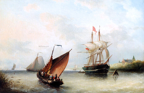 Nicolaas Riegen Shipping In A River Estuary On A Windy Day - Hand Painted Oil Painting