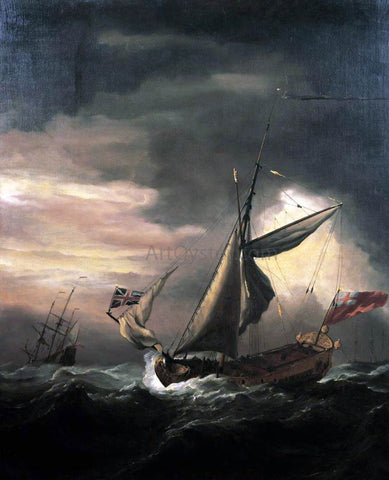 The Younger Willem Van de  Velde Shipping in Heavy Seas - Hand Painted Oil Painting