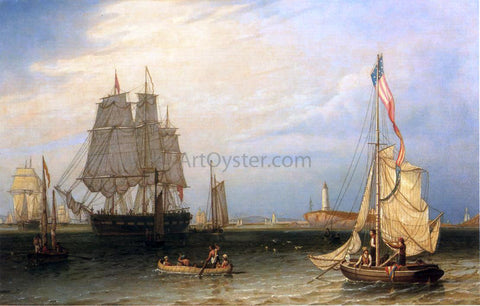 Robert Salmon Shipping in President Roads, Off Boston Light - Hand Painted Oil Painting