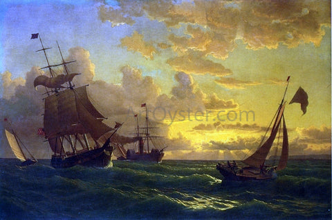 William Bradford Shipping in Rough Waters - Hand Painted Oil Painting