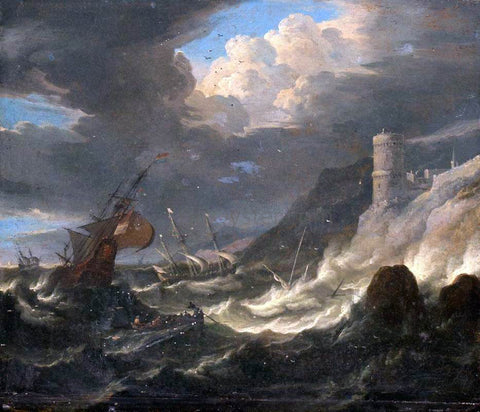The Younger Pieter Mulier Shipping off a Rocky Coast in Storm - Hand Painted Oil Painting