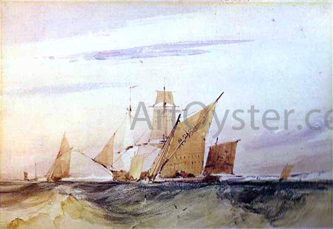 Richard Parkes Bonington Shipping Off the Coast of Kent - Hand Painted Oil Painting