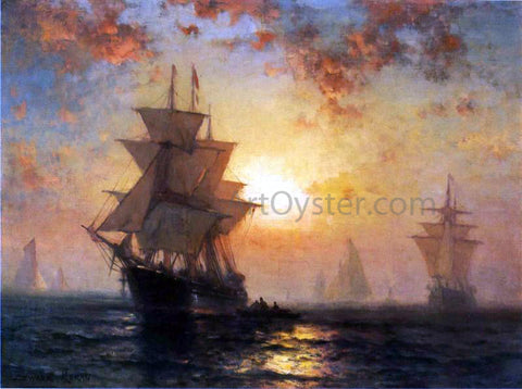 Edward Moran Ships at Night - Hand Painted Oil Painting