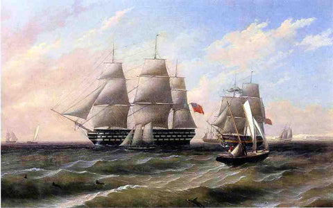 Thomas Birch Ships at Sea - Hand Painted Oil Painting