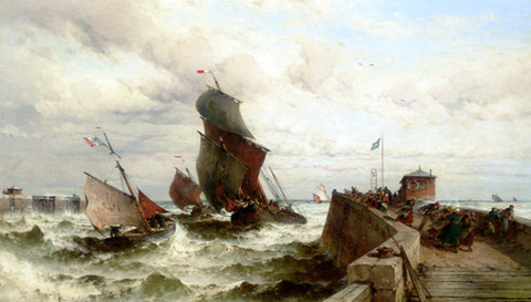 Theodor Alexander Weber Ships Entering a Port in a Storm - Hand Painted Oil Painting