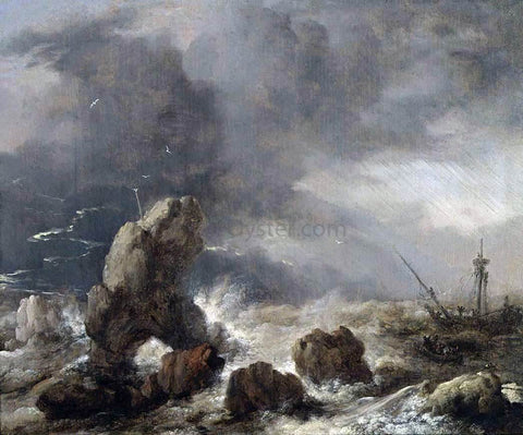 Philips Wouwerman Ships Foundering in Stormy Seas - Hand Painted Oil Painting