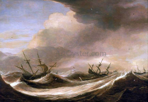 The Elder Pieter Mulier Ships in a Heavy Sea Running Before a Storm - Hand Painted Oil Painting