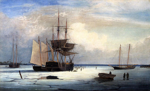 Fitz Hugh Lane Ships in Ice off Ten Pound Island - Hand Painted Oil Painting