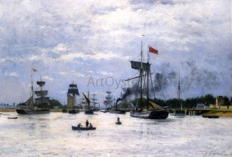 Stanislas Lepine Ships in Port - Hand Painted Oil Painting