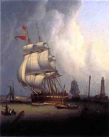 Robert Salmon Ships Leaving Boston Harbor - Hand Painted Oil Painting