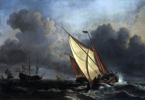 The Younger Willem Van de  Velde Ships on a Stormy Sea - Hand Painted Oil Painting