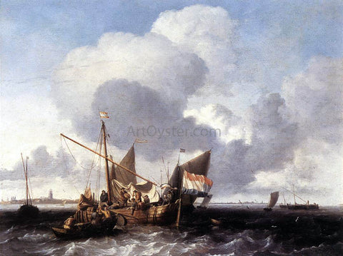 Ludolf Backhuysen Ships on the Zuiderzee Before the Fort of Naarden - Hand Painted Oil Painting