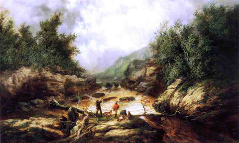William Anthony Frerichs Shooting Birds in a River George - Hand Painted Oil Painting