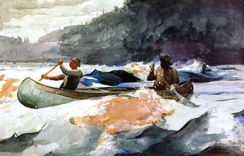 Winslow Homer A Shooting the Rapids Scene - Hand Painted Oil Painting