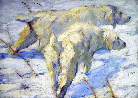 Franz Marc Siberian Sheepdogs (also known as Siberian Dogs in the Snow) - Hand Painted Oil Painting