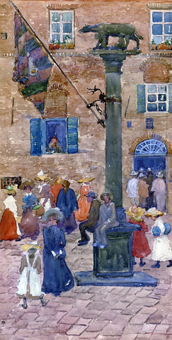 Maurice Prendergast Sienna - Column of the Wolf - Hand Painted Oil Painting