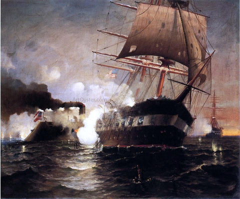"Edward Moran Sinking of the ""Cumberland"" by the ""Merrimack"" - Hand Painted Oil Painting"