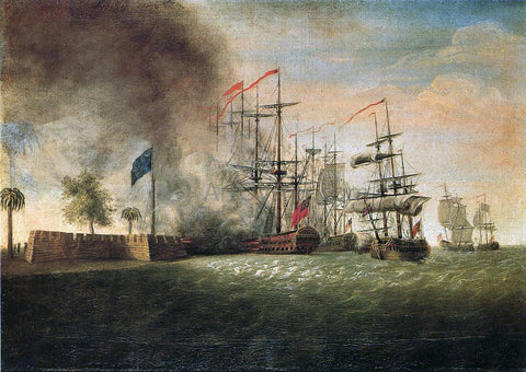 James Peale Sir Peter Parker's Attack Against Fort Moultrie - Hand Painted Oil Painting