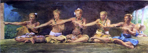 John La Farge Siva Dance, Five Figures, Vaiala, Samoa, Taele Weeping in the Corner - Hand Painted Oil Painting