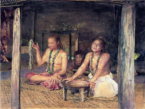 John La Farge Siva with Siakumu Making Kava in Tofae's House - Hand Painted Oil Painting