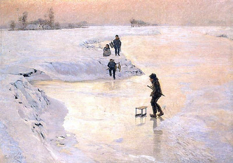 Emile Claus Skaters - Hand Painted Oil Painting