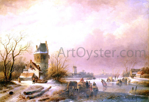 Andreas Schelfhout Skaters on a Frozen River - Hand Painted Oil Painting