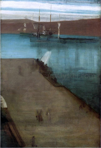 "James McNeill Whistler Sketch for ""Nocturne in Blue and Gold: Valparaiso Bay"" - Hand Painted Oil Painting"