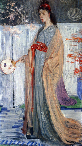 "James McNeill Whistler Sketch for ""Rose and Silver: La Princesse du Pays de la Porcelaine"" - Hand Painted Oil Painting"