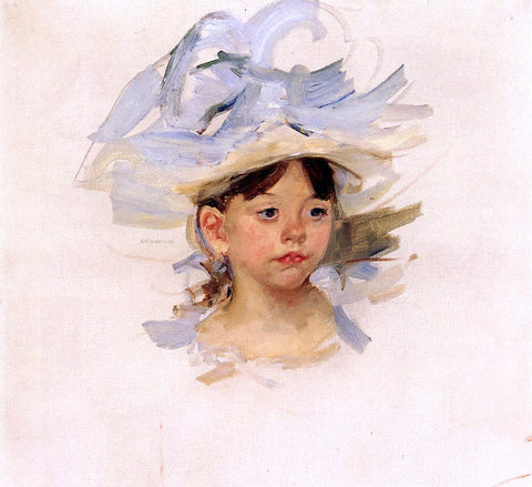 Mary Cassatt Sketch of 'Ellen Mary Cassatt in a Big Blue Hat' - Hand Painted Oil Painting