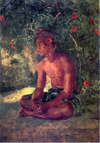 John La Farge Sketch of Maua, Apia, One of Our Boat Crew (also known as Maua, a Samoan) - Hand Painted Oil Painting