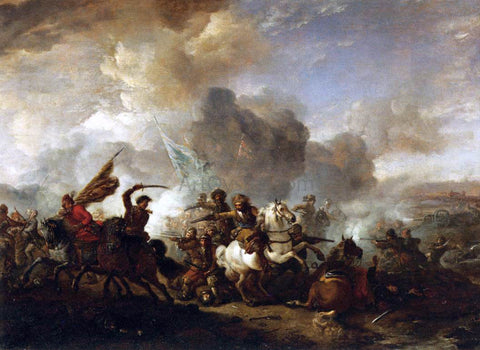 Philips Wouwerman Skirmish of Horsemen between Orientals and Imperials - Hand Painted Oil Painting
