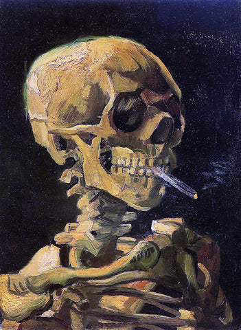 Vincent Van Gogh A Skull with Burning Cigarette - Hand Painted Oil Painting
